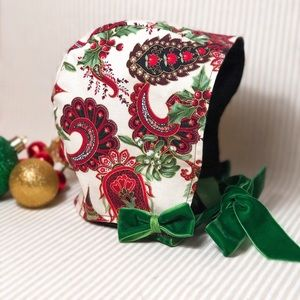 Other - Gorgeous Custom Christmas Bonnet.  Never Worn.6-9M